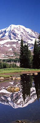 Reflection Of A Mountain In A Lake, Mt Art Print