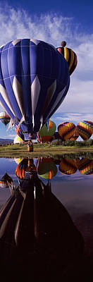 Hot Air Balloon Photograph - Reflection Of Hot Air Balloons by Panoramic Images
