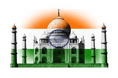 Taj Mahal Digital Art - Reflection Of Indian Flag On Tajmahal by Image World