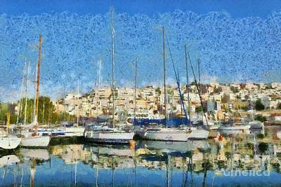 Marine Painting - Reflections In Mikrolimano Port by George Atsametakis