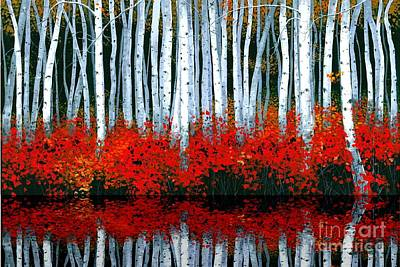 Autumn Landscape Painting - Reflections - Sold by Michael Swanson