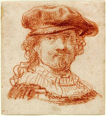 Self-portrait Drawing - Rembrandt Van Rijn, Dutch 1606-1669, Self-portrait by Litz Collection