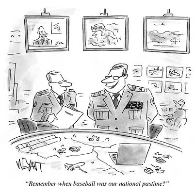 Our National Sport Drawing - Remember When Baseball Was Our National Pastime by Christopher Weyant