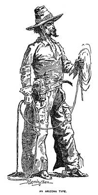 Drawing - Remington Cowboy, 1887 by Granger