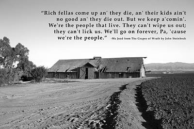 Remnants Of The Grapes Of Wrath John Steinbeck Quote Art Print
