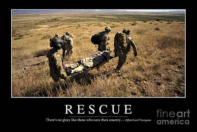 Back Injury Photograph - Rescue Inspirational Quote by Stocktrek Images