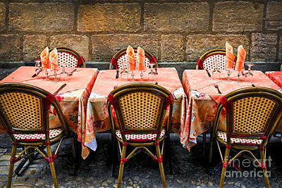 French Cafe Bistro Photograph - Restaurant Patio In France by Elena Elisseeva
