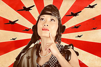 Liberation Photograph - Retro Asian Pinup Girl. War Planes Of Revolution by Jorgo Photography - Wall Art Gallery