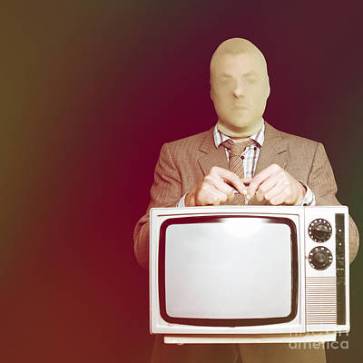 Electronic Photograph - Retro Burglar Stealing Television On Black by Jorgo Photography - Wall Art Gallery