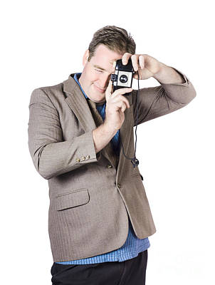 Paparazzi Photograph - Retro Businessman Taking Portrait Photo by Jorgo Photography - Wall Art Gallery