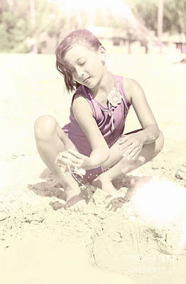 Preteen Photograph - Retro Girl Playing In Beach Sand by Jorgo Photography - Wall Art Gallery