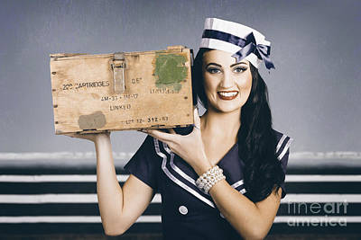 Photograph - Retro Maritime Portrait. Woman In Sailor Fashion by Jorgo Photography - Wall Art Gallery
