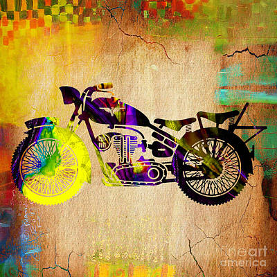 Motorcycle Mixed Media - Retro Motorcycle by Marvin Blaine