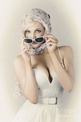 Retro Pin-up Girl In Classic Fashion Style Art Print
