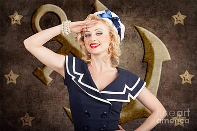 Retro Art Photograph - Retro Pin-up Sailor Woman. Retro 50s Fashion Style by Jorgo Photography - Wall Art Gallery