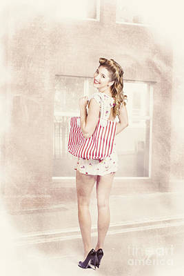 Storefront Photograph - Retro Pin Up Woman Carrying Vintage Shopping Bag by Jorgo Photography - Wall Art Gallery