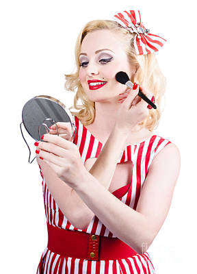 Hand-colored Photograph - Retro Pin-up Woman Doing Beauty Make-up by Jorgo Photography - Wall Art Gallery