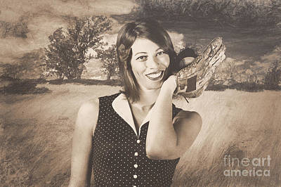 Photograph - Retro Pinup Poster Girl Holding Baseball In Glove by Jorgo Photography - Wall Art Gallery