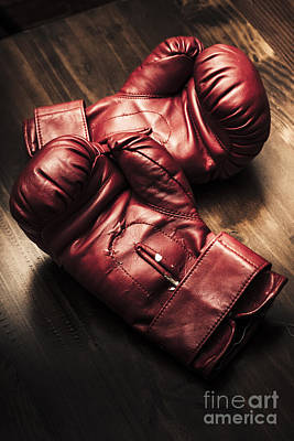 Gear Photograph - Retro Red Boxing Gloves On Wooden Training Bench by Jorgo Photography - Wall Art Gallery