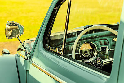 Beetle Car Interior Photograph - Retro Styled Image Of The Interior Of A Volkswagen Beetle by Martin Bergsma