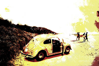 Boarder Photograph - Retro Surfers Illustration by Jorgo Photography - Wall Art Gallery