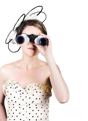 Retro Woman Looking Through Binoculars Art Print by Jorgo Photography - Wall Art Gallery