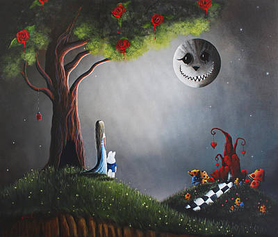 Red Rose Painting - Alice In Wonderland Original Artwork by Shawna Erback