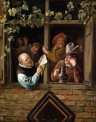 Painting - Rhetoricians At A Window by Jan Steen