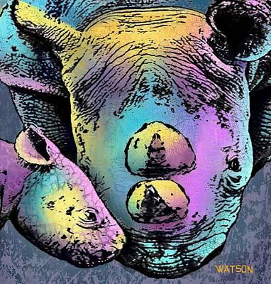 Rhinoceros Digital Art - Rhino And Baby by Marlene Watson
