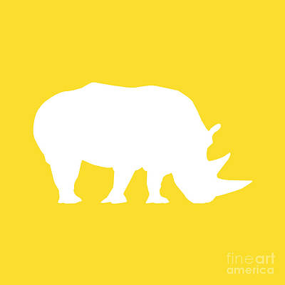 Digital Art - Rhino In Golden And White by Jackie Farnsworth