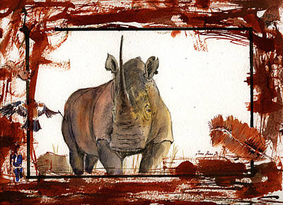 Rhinoceros Painting - Rhino by Juan  Bosco