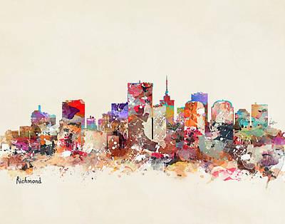 Painting - Richmond Virginia Skyline by Bri B