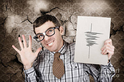 Richter The Male Nerd Seismologist In Earthquake Art Print by Jorgo Photography - Wall Art Gallery