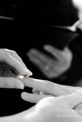 Custom Ring Photograph - Rings Being Exchanged By A Bride And Groom by Jorgo Photography - Wall Art Gallery