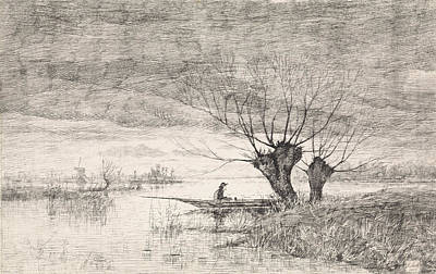 Willow Drawing - River Landscape With A Man In A Boat, Elias Stark by Elias Stark