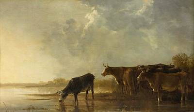 Holy Cow Painting - River Landscape With Cows by Aelbert Cuyp