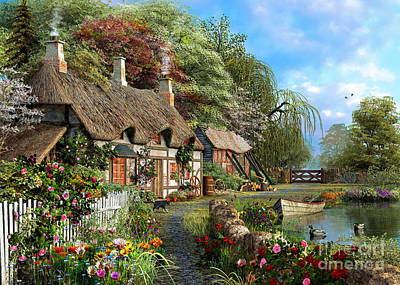 Riverside Home In Bloom Art Print