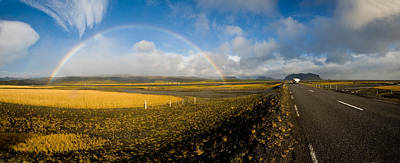 Full Rainbow Photograph - Road Passing Through Landscape by Panoramic Images