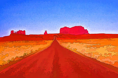 Photograph - Road To Monument Valley 5 - Route 163 Photopainting by Allen Beatty