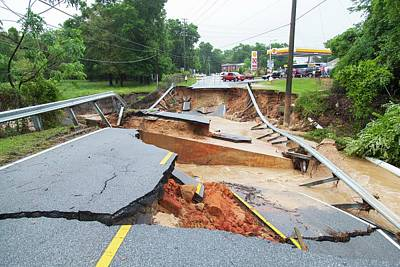 Florida Bridge Photograph - Road Washed Out By Flooding by Jim Edds