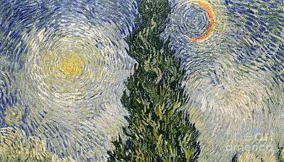 Road With Cypresses Art Print by Vincent Van Gogh