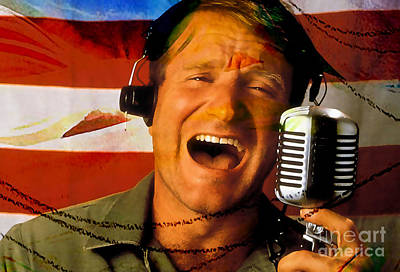 Mixed Media - Robin Williams Good Morning Vietnam by Marvin Blaine