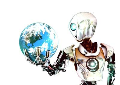 World Of Thought Photograph - Robot Lamenting Earth by Animate4.com/science Photo Libary