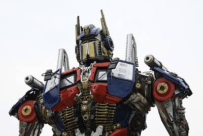 Optimus Photograph - Robot Statue by Lauren Tracy