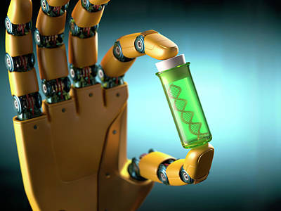 Robotic Hand Holding Test Tube With Dna Art Print