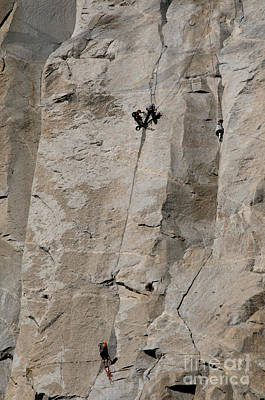 Rock Climber On El Capitan Art Print by Mark Newman