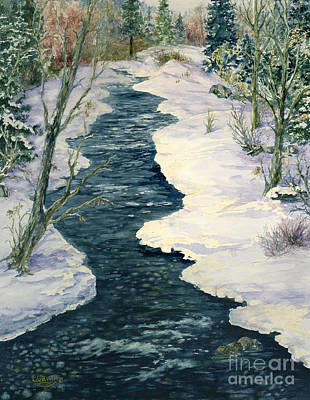 Snow Capped Painting - Rock Creek Winter by Lynne Wright