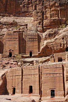 Rock Cut Tombs On The Street Of Facades Petra Jordan Art Print by Robert Preston