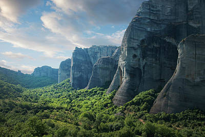 Awe Wall Art - Photograph - Rock Formations In The Meteora, Greece by Ed Freeman