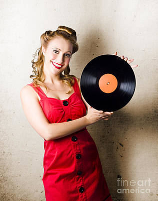 Rockabilly Music Girl Holding Vinyl Record Lp Art Print